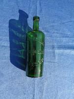 Régi hibátlan állapotú, formába fújt, zöld színű gyógyszertári üveg, patikaüveg, Brázay