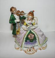Barokk pár Sitzendorfi páros porcelán figura
