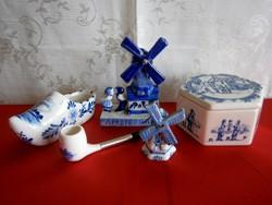 5 db Holland (Delft is) porcelán: bonbonier, szélmalom gyerekekkel, nagy papucs, szélmalom és pipa