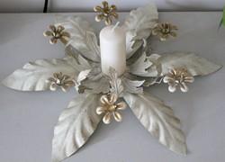Festett, aranyozott fém asztalközép, gyertyatartó RITKASÁG!!!