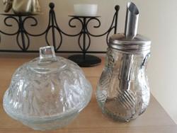 Retro üveg cukorszoró+üveg bonbonier