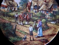 Wedgwood dísztányér vidéki életképpel