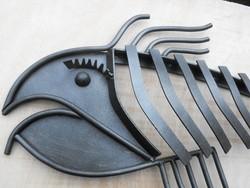 Kovács-Manó alkotás Kovácsoltvas 90cm kézműves Hal csontváz Loft szobor kép Industrial Cégér