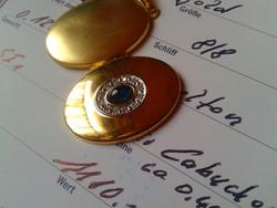 Zafír gyémántokkal.585/14kr.arany medál.Tanúsítvány van!