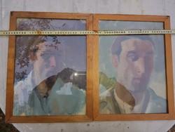 Stílusgyakorlat! Két portré, egy modell. Egyik akva, másik olaj, vászon, méret jelezve