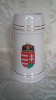 Magyar címeres hollóházi porcelán korsó