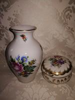 Herendi gyönyörű virágos vitrindíszek váza és bonbonier