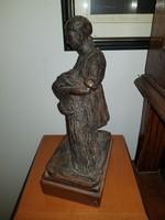Mónus Sándor, Hódmezővásárhely, kerámiaszobor, 28 cm magas