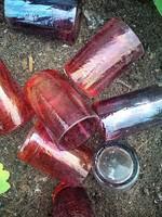 Irizáló roppantott üveg feles poharak egyben vagy külön is!