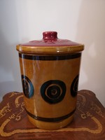 Antik Rumtopf mázas kerámia rumos szilva, gyümölcsérlelő (barna régi dekoráció)