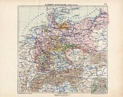 Német - Birodalom politikai térkép 1913, Berlin, Bajorország, Szilézia, atlasz, Kogutowicz Manó