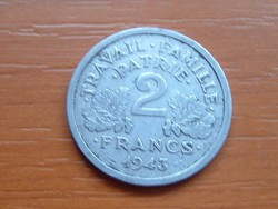 FRANCIA 2 FRANCS FRANK 1943 VICHY ALU #