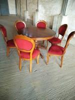 Antik barok étkezőgarnitura ,kinyitható asztallal és 6 székkel