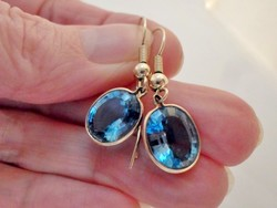 Gyönyörű valódi kék topáz köves arany fülbevaló
