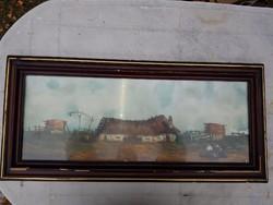 Szegvári Károly: Tanya, 30x80+szép, de viseltes keret, az üveg mögött kíváló állapotban a festmény!