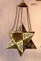 Áttört mintázatú dávidcsillag formájú 12 ágú bronz csillag, felnyitható fedéllel, javításra szorul.