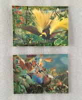 2db postatiszta vintage, retro 3D-s madaras képeslap