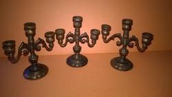 3 darabos bronz gyertyatartó szett - miniatúra , polcdísz csomag