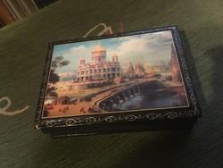 Orosz lakk doboz képes ékszeres doboz