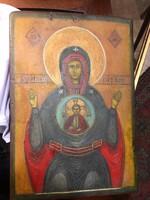 Közepes méretű ikon a XIX.sz-ból, gyönyörű ábrázolás.