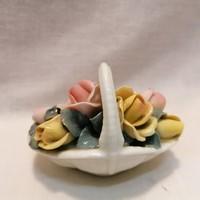 ENS porcelán virágkosár , dísztárgy