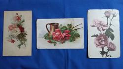 Három régi virágos képeslap