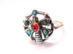 Bécsi,pillangós,köves ezüst gyűrű.