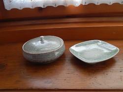 Hollóházi zöld lüsztermázas porcelánok