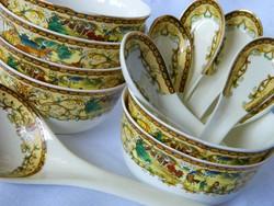 Guci Jingdezhen csont porcelán leveses csésze, tál 6 db, kanalak, merőkanál