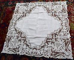 Antik szecessziós richelieu hímzés abrosz asztal terítő