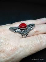 Rozsdamentes acél gyűrű (Stainless Steel) piros kővel