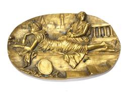 Régi,római életképes bronz dísz tál.