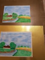 Dr.Balázs István két tempera ikerfestménye, nem szignózta, A4 méretűek