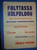 Karácsonyi ajándék ötlet! Antik filmplakát: FOLYTASSA KÜLFÖLDÖN