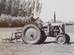 Régi fotó vintage fénykép földművelés aratás traktor 2 db