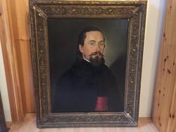 Ismeretlen biedermeier férfi portré rokokó keretben