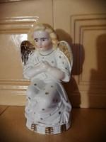 Antik imádkozó porcelán angyal, házi oltár, asztaldísz,