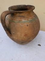26cm magas cserép szilke, népi cserép edény, kocsog, régiség antik