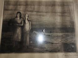 Iván Szilárd (1912 - 1988) part technika: rézkarc, szignált méretek: 20 x 29 cm