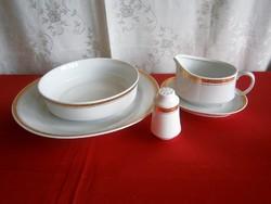 Régi Alföldi fehér porcelán arany mintás szélű 5 darabos tálaló készlet