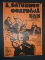 """Karácsonyi ajándék ötlet! Antik filmplakát: A """"SATURNUS"""" CSAPDÁJÁBAN"""