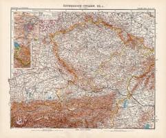 Osztrák - Magyar Monarchia (rész) térkép I. 1905, német atlasz, nagy méret, 39 x 47 cm, cseh, Prága