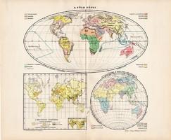 A Föld népei térkép 1907, atlasz, Kogutowicz Manó, magyar nyelvű, világtérkép, világ