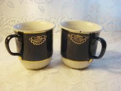 2 db nagyméretű orosz kobaltkék arany mintázatú porcelán teáscsésze  3,5 dl