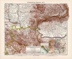 Osztrák - Magyar Monarchia (rész) térkép IV. 1904, német atlasz, nagy méret, 39 x 47 cm, Budapest