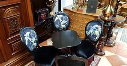 Francia barokk szalon asztal 4 db székkel
