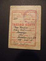 Szociáldemokrata Párt tagsági könyv 1947