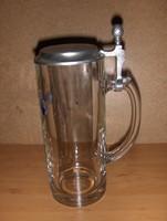 Ón fedelű üveg söröskorsó 0,5 liter (20/d)