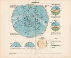 Északi csillagos ég, színes nyomat 1907, térképészet, atlasz, térkép, Kogutowicz Manó, látóhatár
