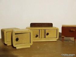 Régi retró fa baba bútor,bababútor, babaszoba, babaház méretű játékbútor